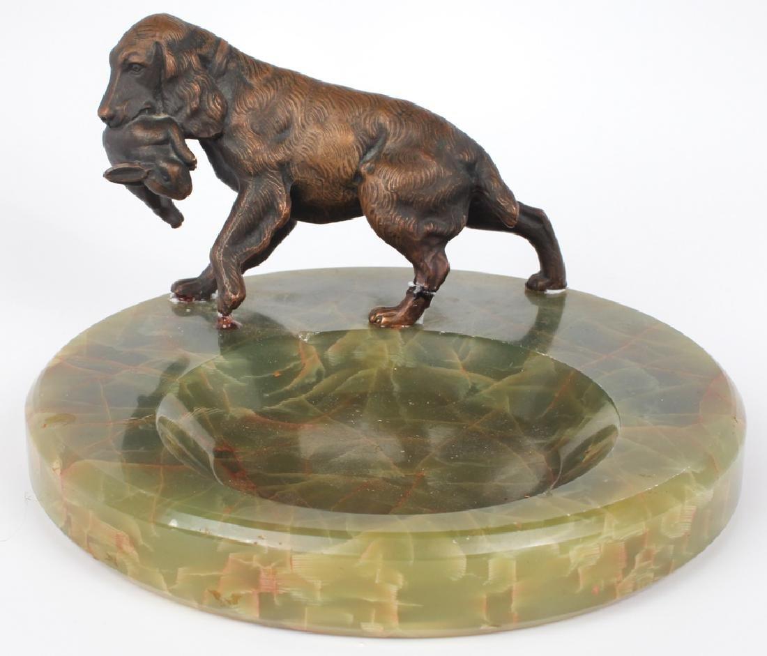 CAST BRONZE HUNTING DOG ASHTRAY ON MARBLE