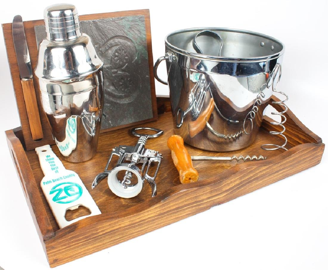 CONTEMPORARY BAR WARE - STAINLESS STEEL & WOOD