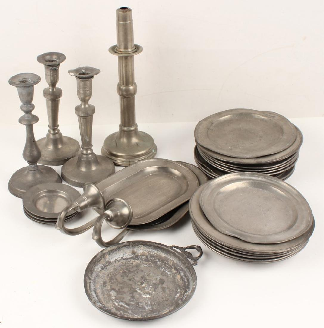 PEWTER TAPERED CANDLE HOLDERS AND TRAYS