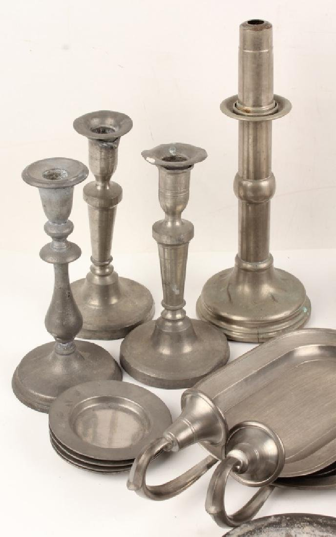 PEWTER TAPERED CANDLE HOLDERS AND TRAYS - 2