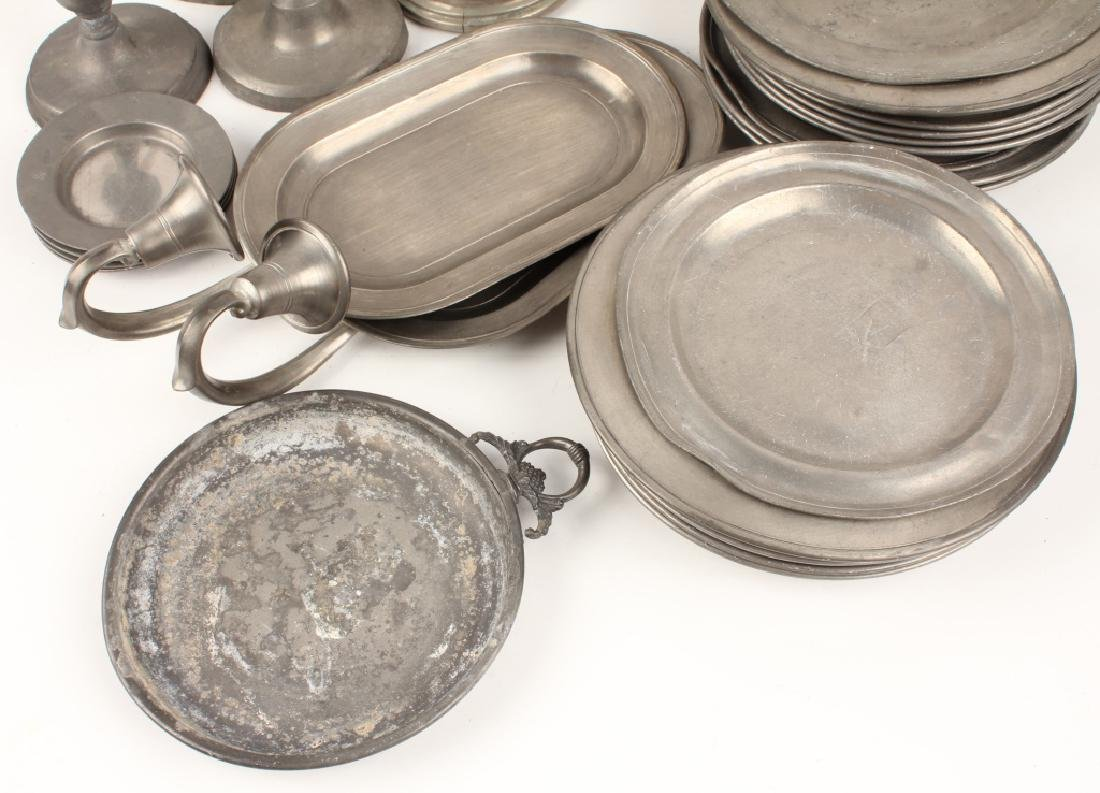PEWTER TAPERED CANDLE HOLDERS AND TRAYS - 3