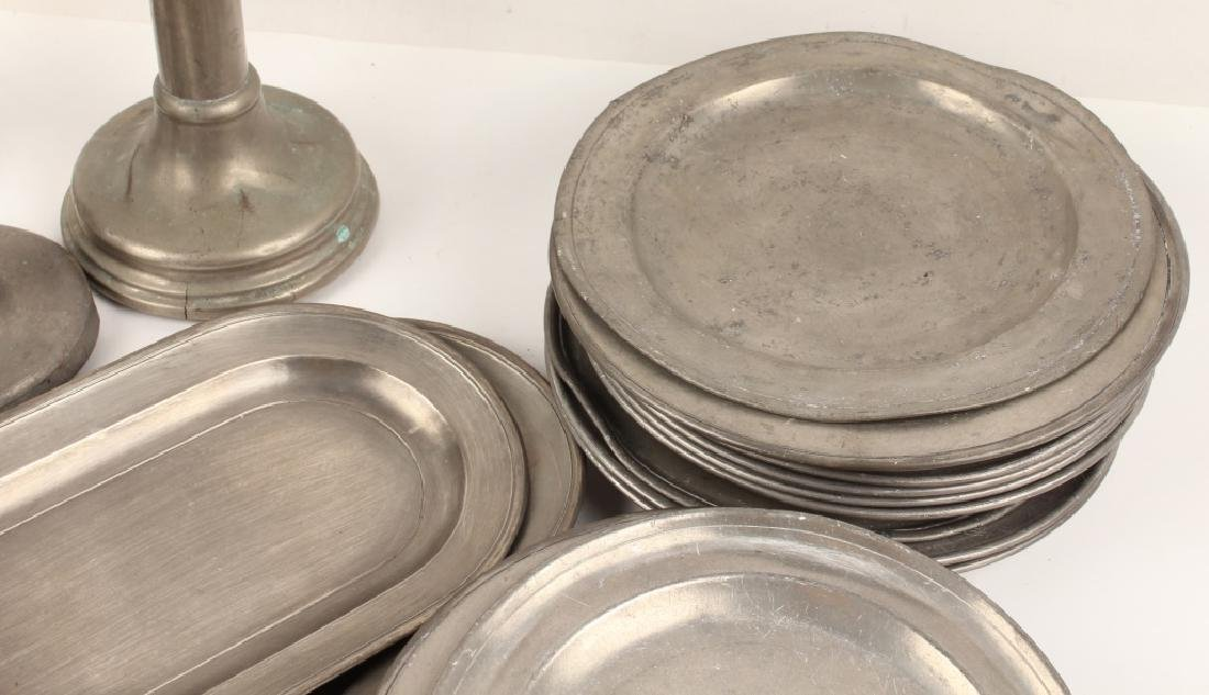 PEWTER TAPERED CANDLE HOLDERS AND TRAYS - 4