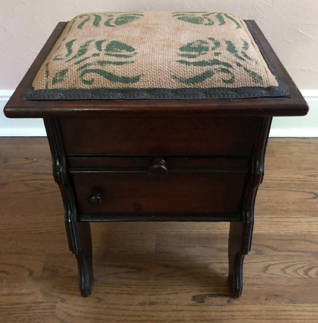 MAHOGANY NEEDLEPOINT STOOL - SEWING OR OTHER