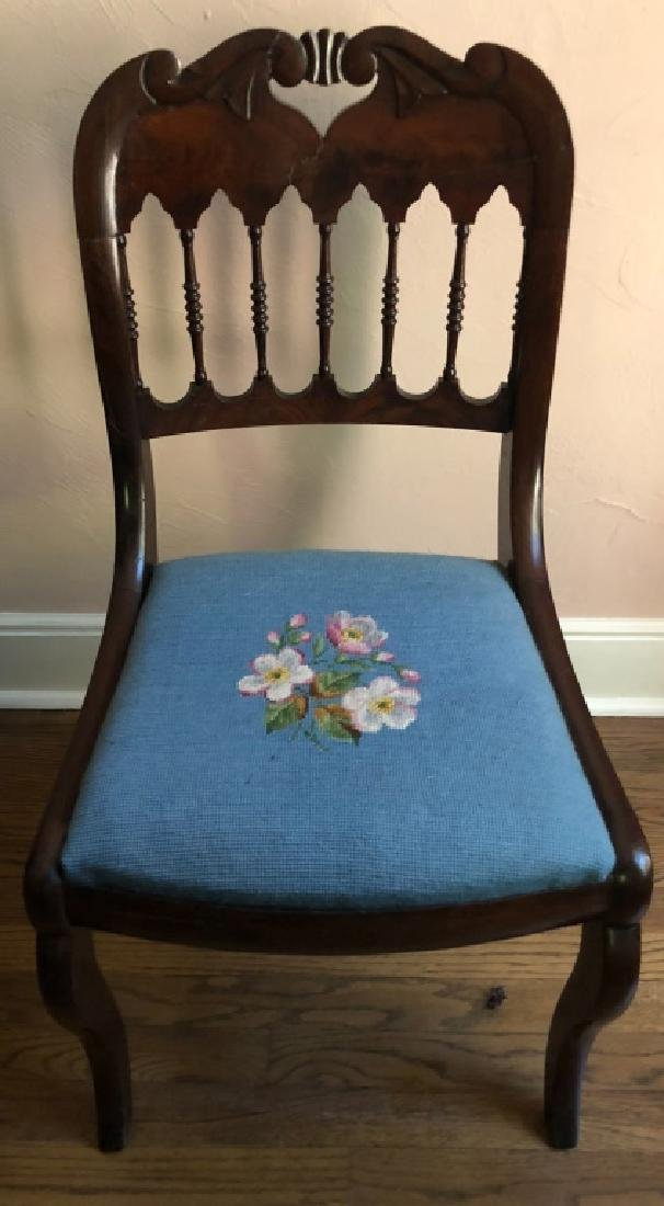 FINELY CARVED NEEDLEPOINT CHAIR 19th C.