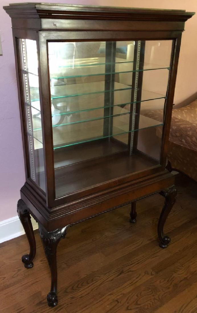 GLASS CURIO or DISPLAY CABINET - CARVED MAHOGANY