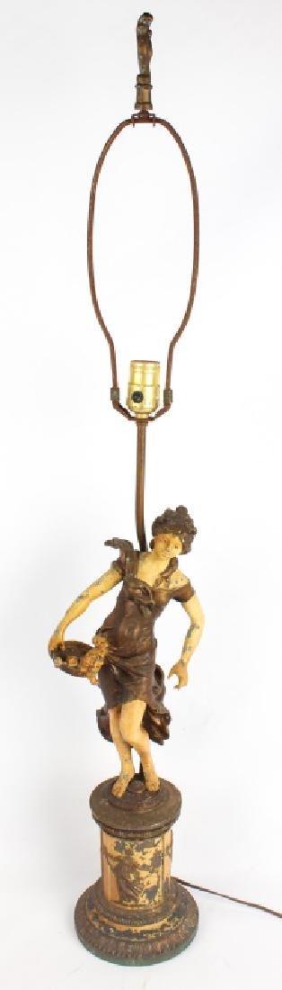 MOREAU ART NOUVEAU PAINTED CAST METAL LAMP