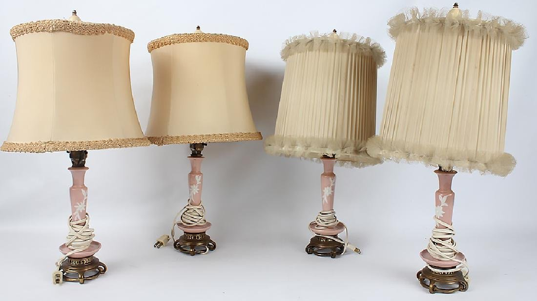 SET OF FOUR PINK & WHITE PORCELAIN LAMPS