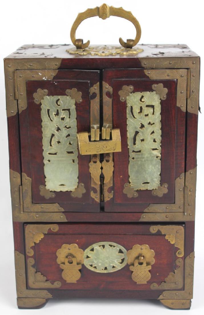 CHINESE JADE AND WOOD JEWELRY LOCK BOX