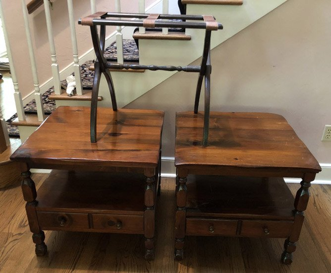 PAIR OF PINE SIDE TABLES & FOLDING LUGGAGE RACK