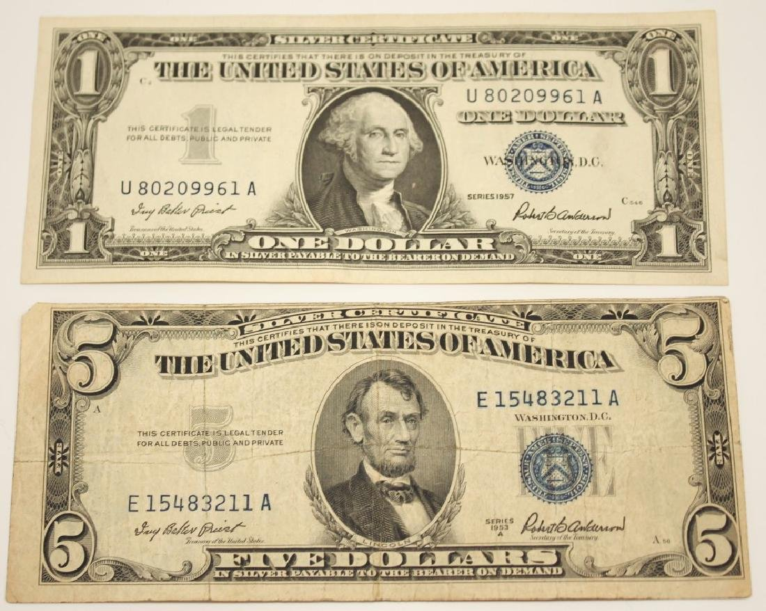 2 UNITED STATES SILVER CERTIFICATES 1957 & 1953