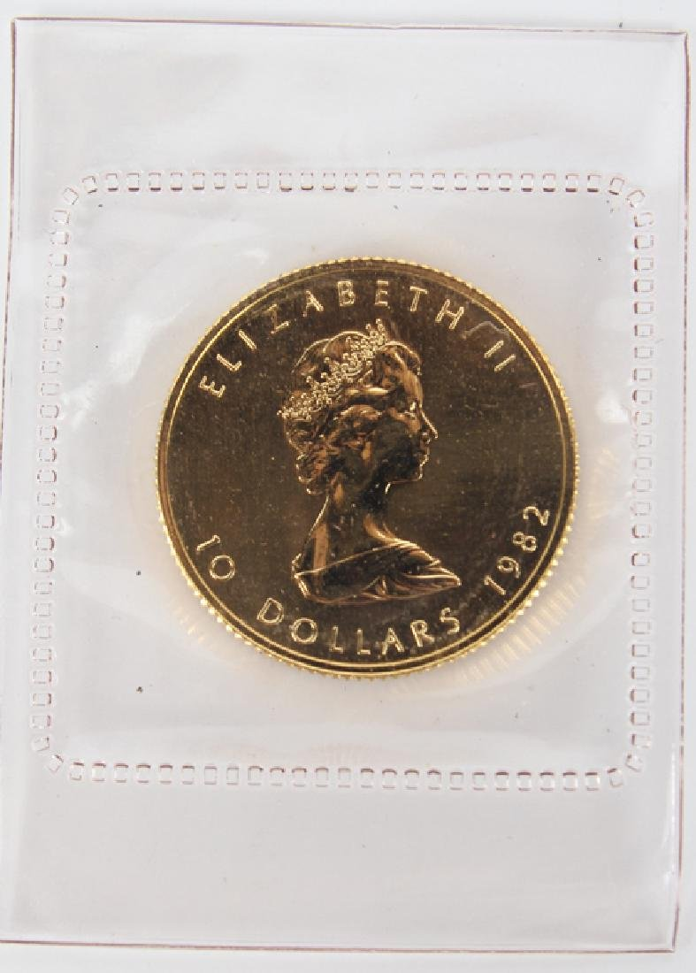 GOLD .999 FINE $10 CANADIAN MAPLE 1/4 OZ COIN 1982