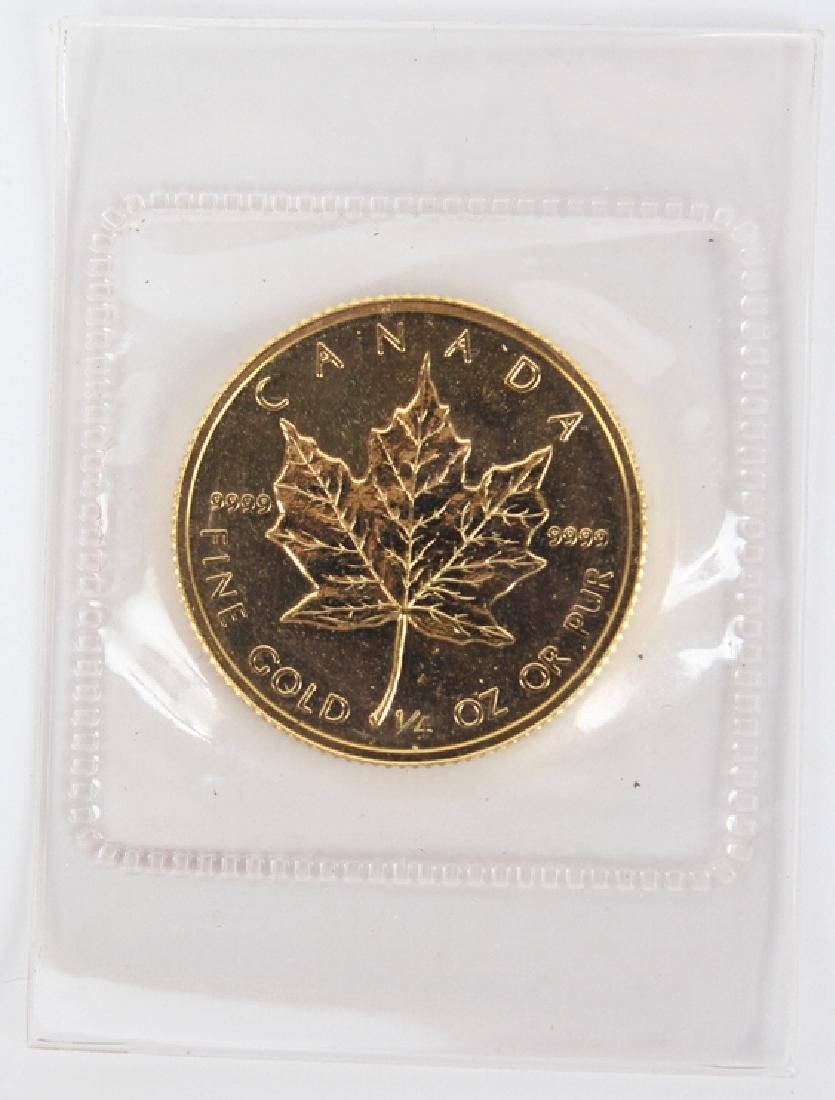 GOLD .999 FINE $10 CANADIAN MAPLE 1/4 OZ COIN 1982 - 2