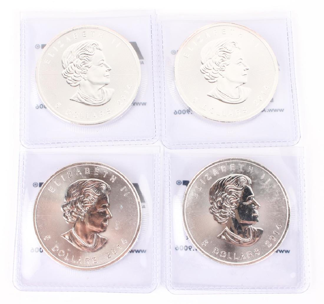 (4) SILVER CANADIAN MAPLE $5.00 ONE OUNCE COINS