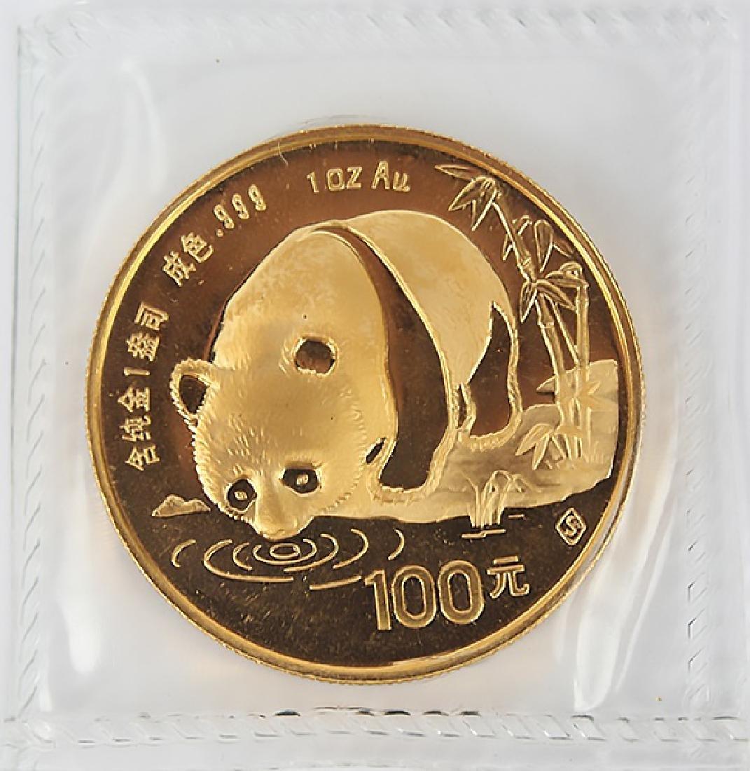 GOLD 1 OZ CHINA PANDA 100 YUAN 1987 S - SEALED