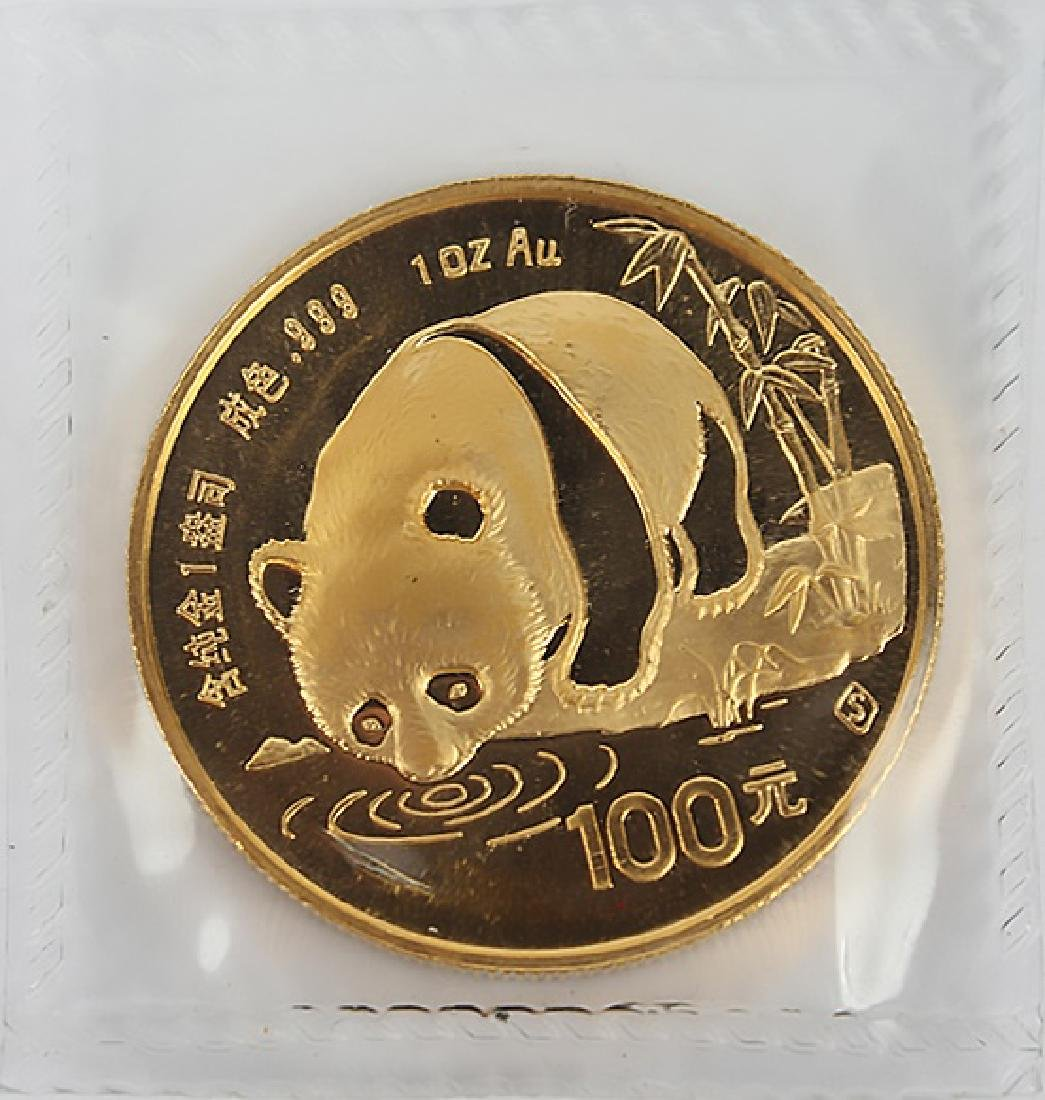 GOLD 1 OZ CHINA PANDA 100 YUAN 1987 S - SEALED
