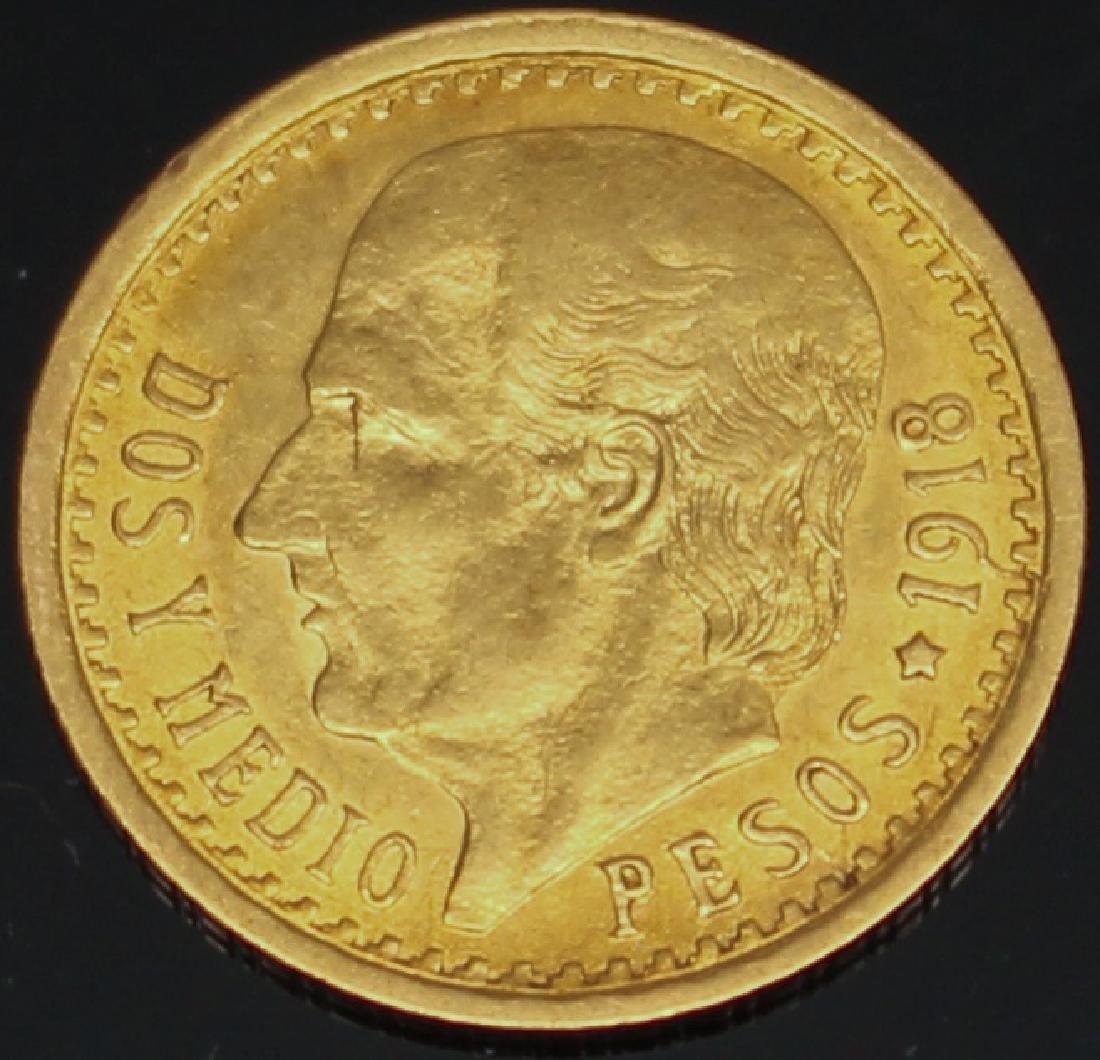 2.5 PESO MEXICAN 1918 GOLD COIN