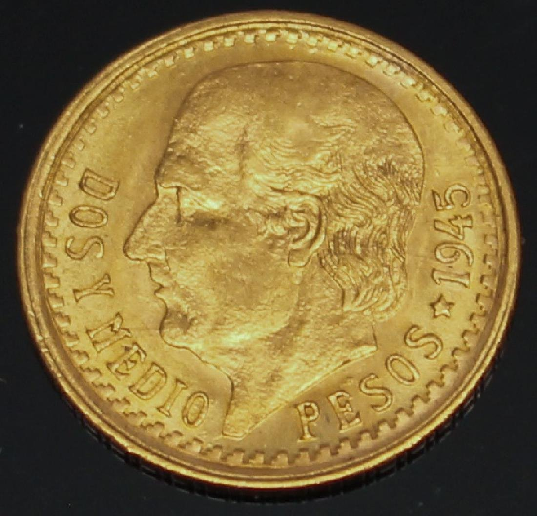 2.5 PESO MEXICAN 1945 GOLD COIN