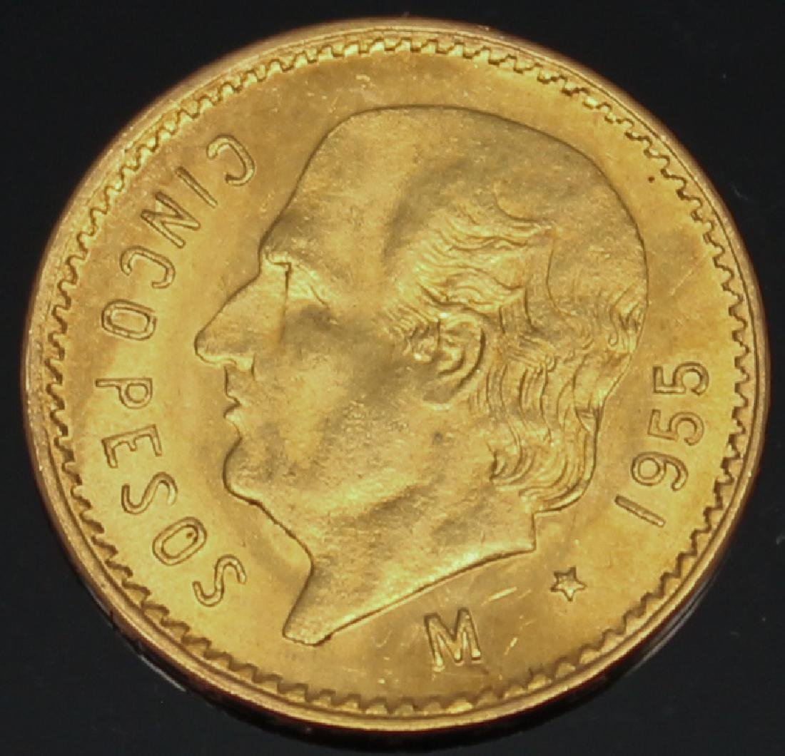 5 PESO MEXICAN 1955 M GOLD COIN