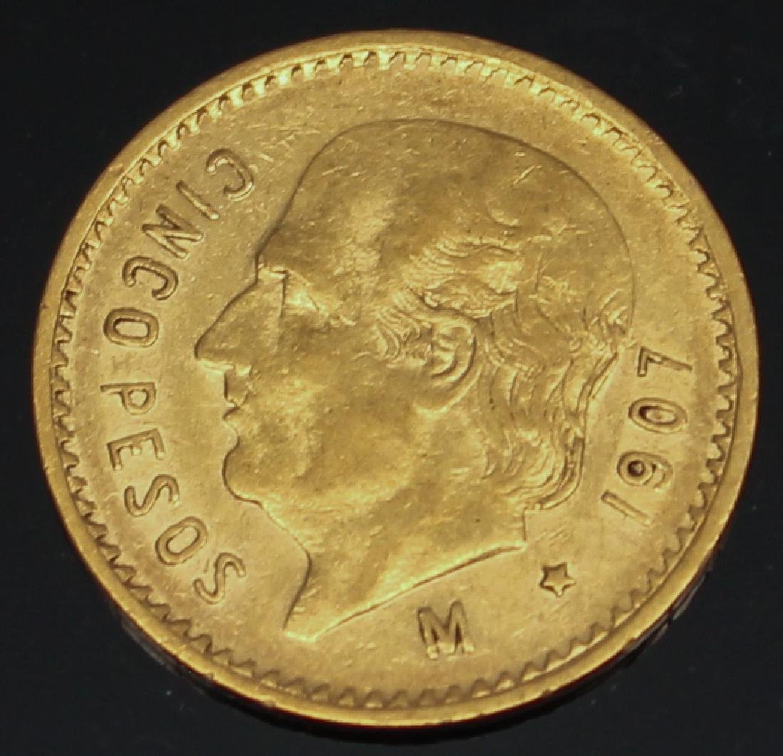 5 PESO MEXICAN 1907 M GOLD COIN
