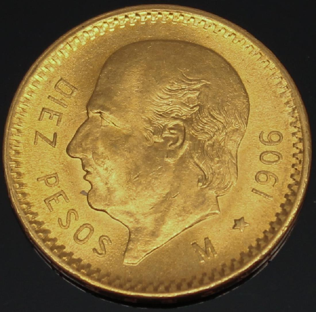 10 PESO MEXICAN 1906 M GOLD COIN