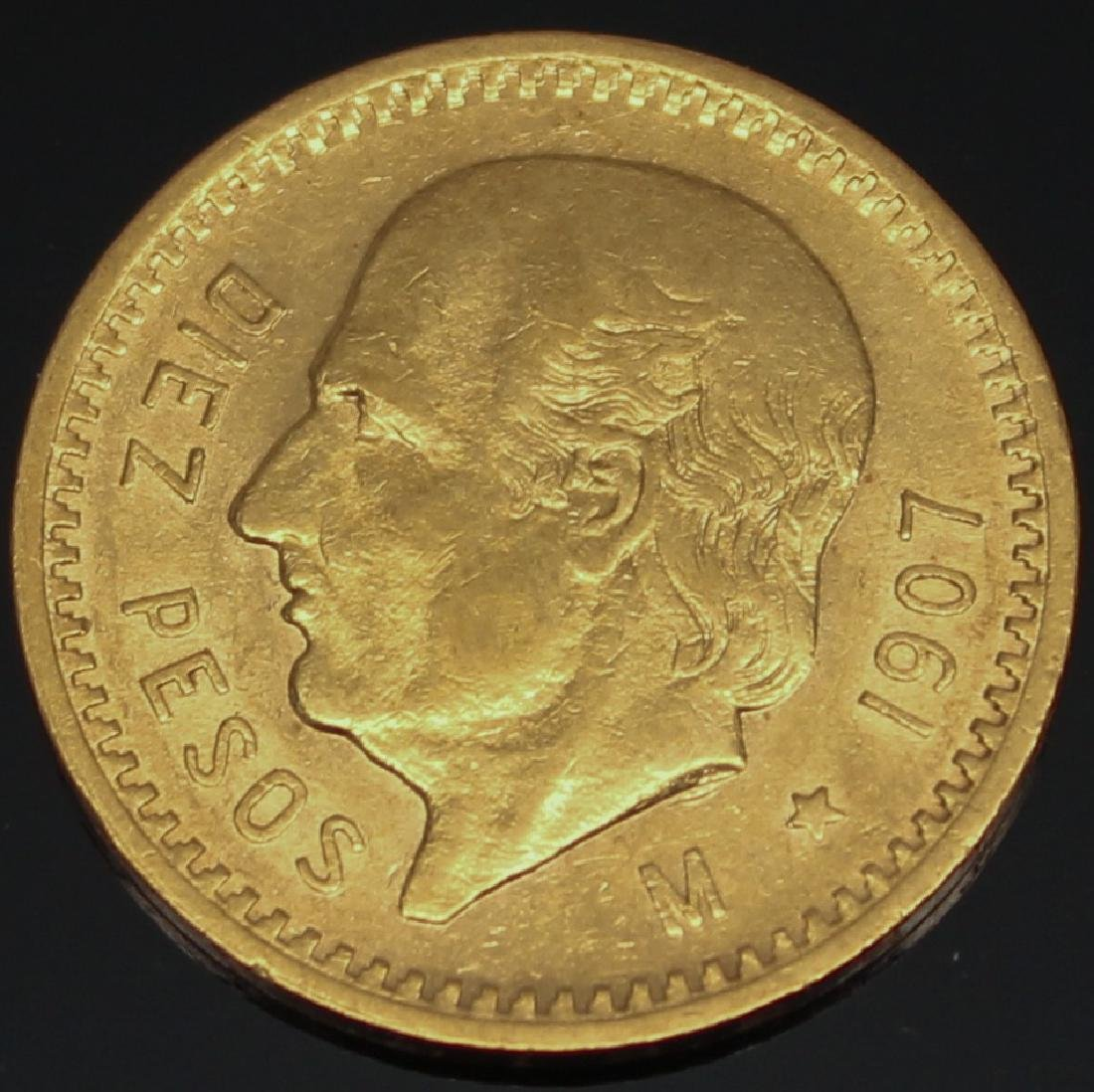 10 PESO MEXICAN 1907 M GOLD COIN
