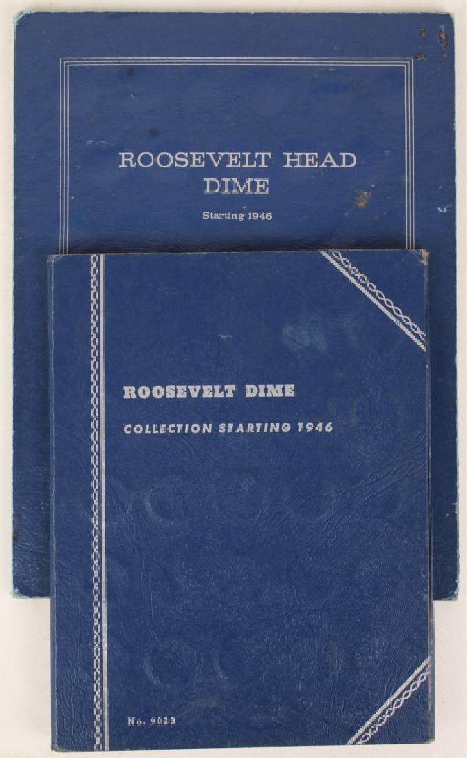 2 BLUE WHITMAN 90% SILVER ROOSEVELT DIME BOOKS