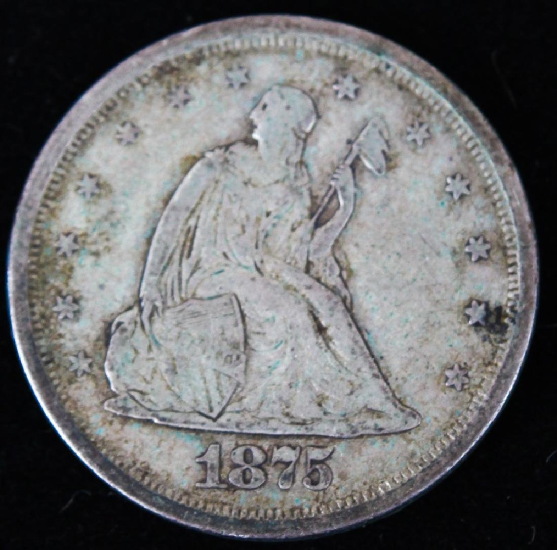 1875 S UNITED STATES SILVER TWENTY CENT PIECE