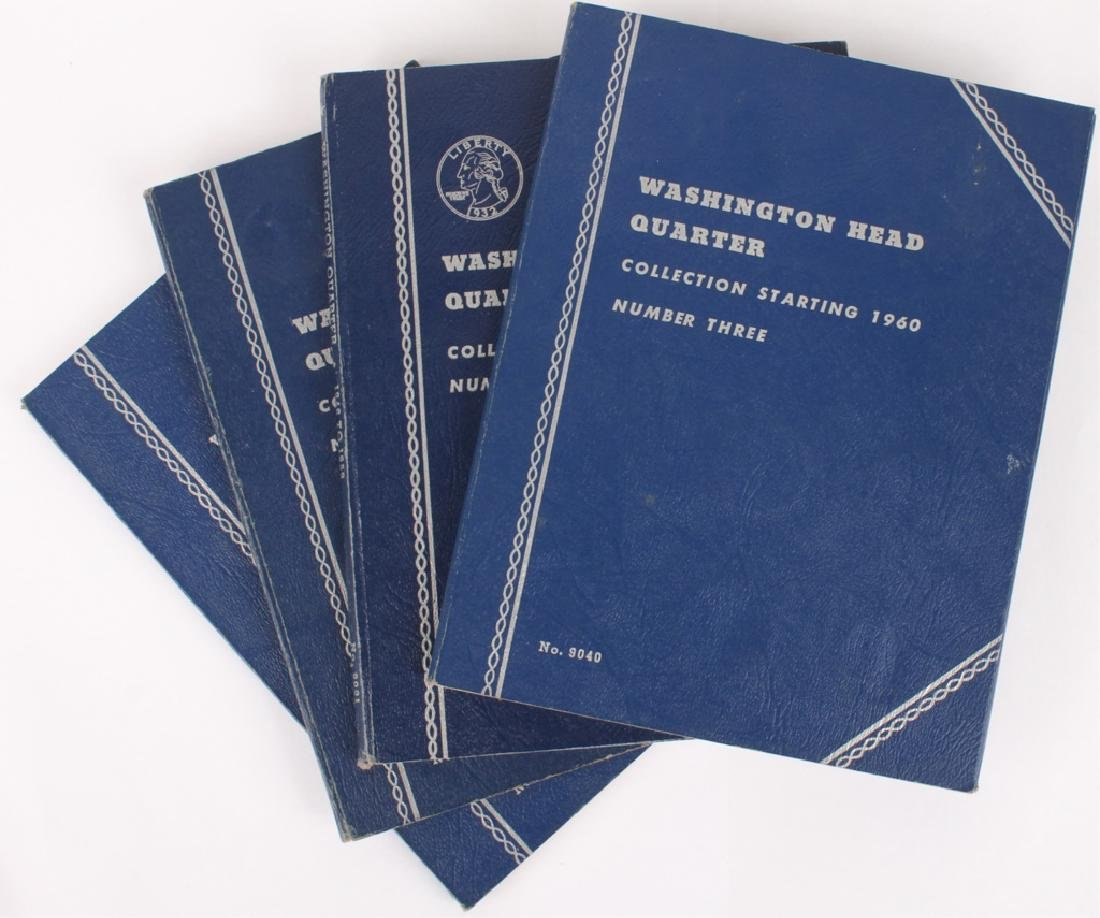 4 BLUE WHITMAN 90% SILVER WASHINGTON QUARTER BOOKS