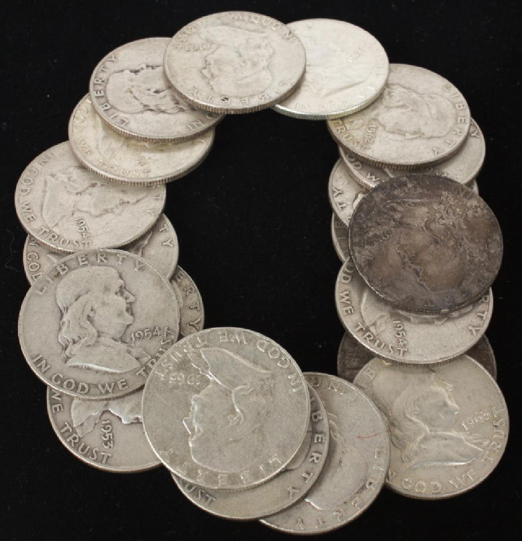 $10.00 UNITED STATES SILVER FRANKLIN HALF DOLLARS