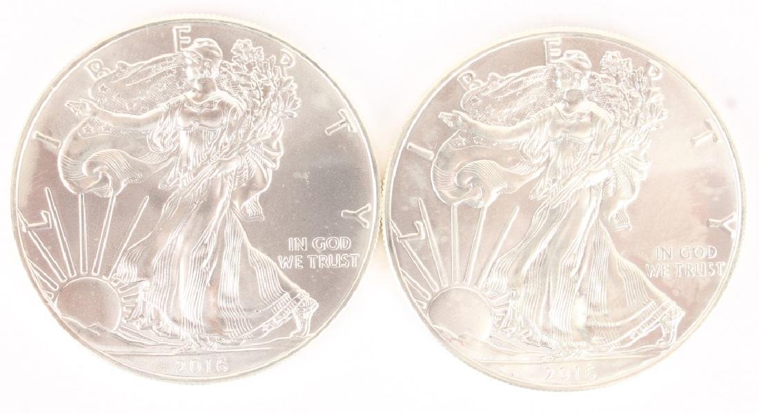 (2) AMERICAN SILVER EAGLE ONE OUNCE SILVER COINS