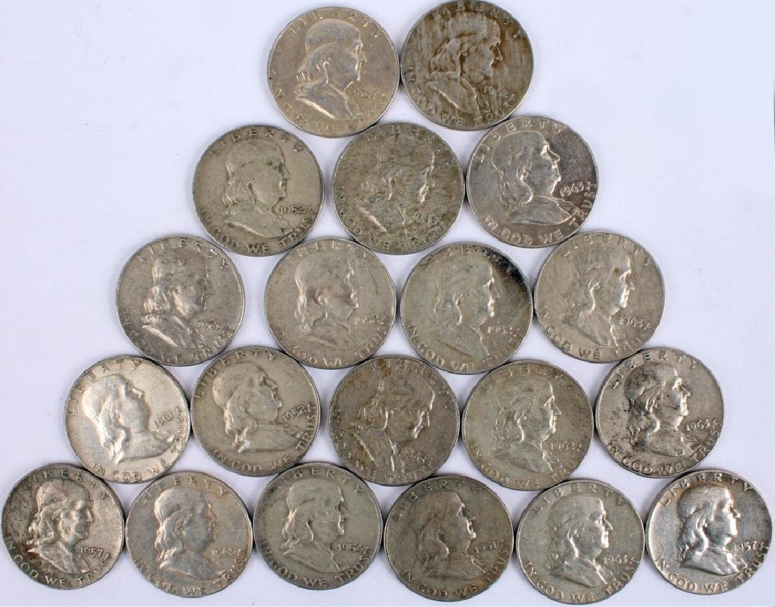 $10.00 FACE U.S. 90% SILVER FRANKLIN HALF DOLLARS