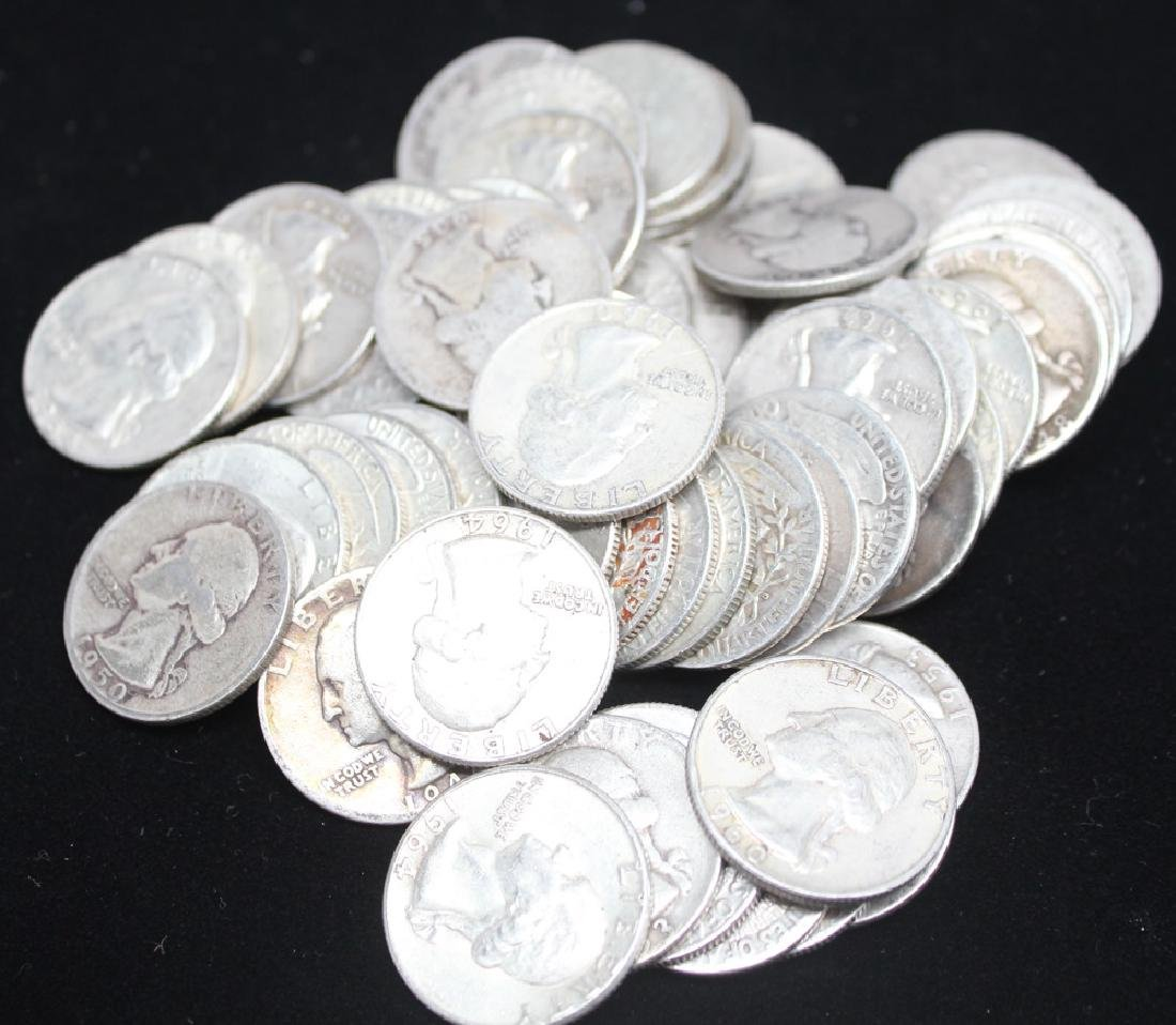 $15.00 FACE VALUE 90% SILVER WASHINGTON QUARTERS