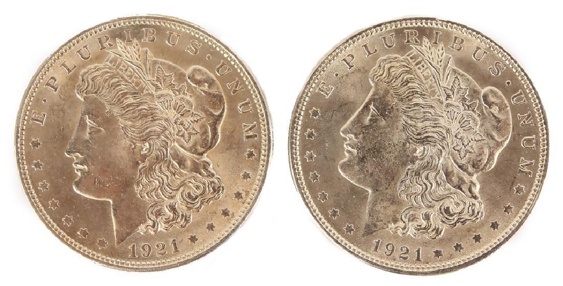 1921 MORGAN SILVER DOLLARS HIGH GRADE - LOT OF 2