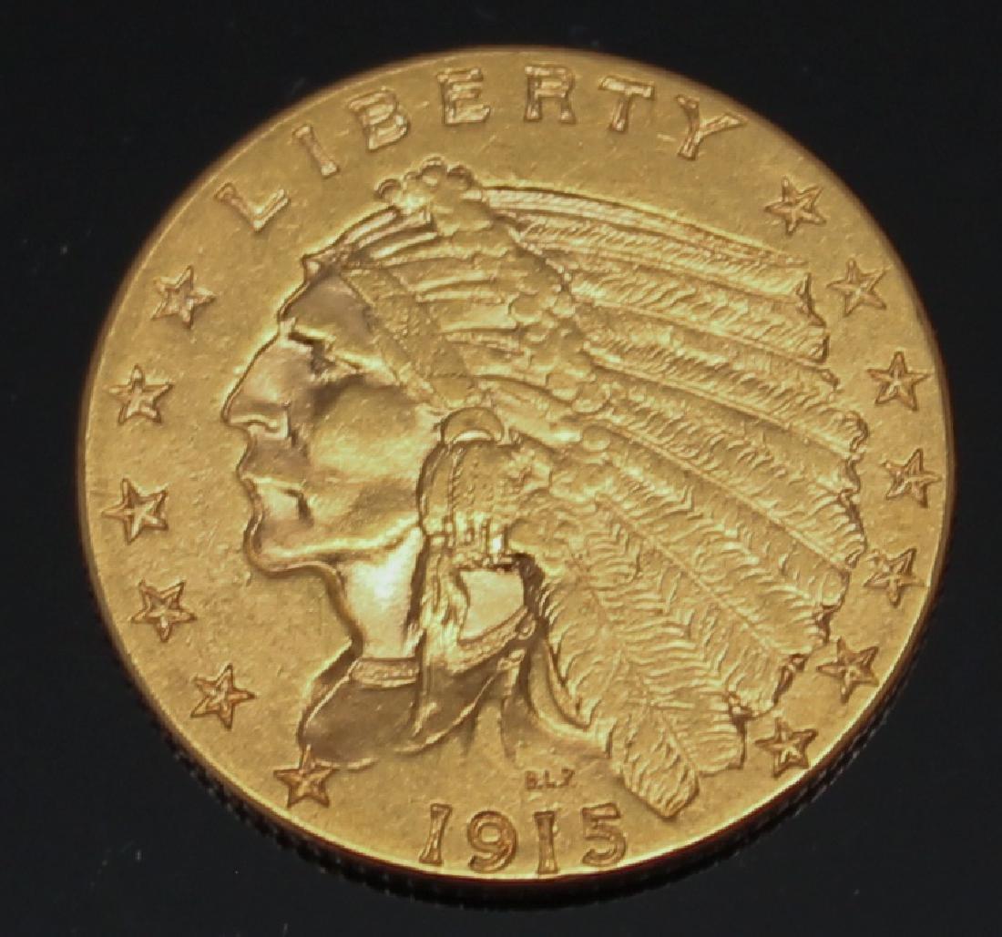 $2.50 U.S. INDIAN GOLD 1915 QUARTER EAGLE