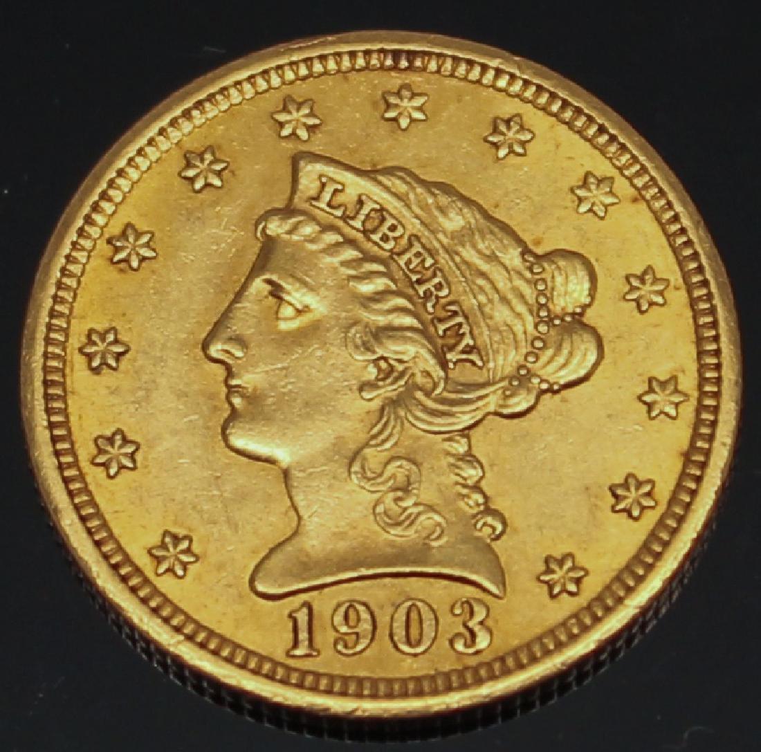 $2.50 U.S. LIBERTY GOLD 1903 QUARTER EAGLE
