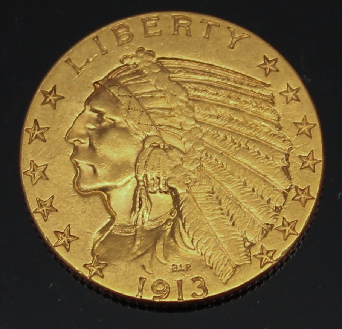 $5.00 U.S. INDIAN GOLD 1913 HALF EAGLE