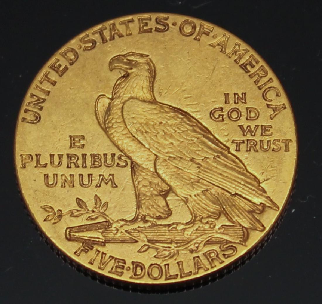 $5.00 U.S. INDIAN GOLD 1913 HALF EAGLE - 2