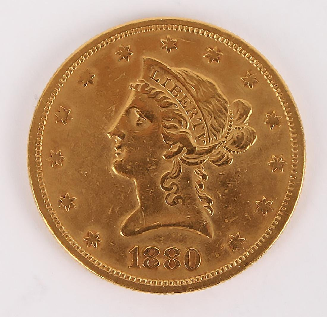1880 SAN FRANCISCO MINT TEN DOLLAR GOLD COIN