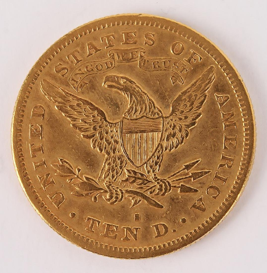 1880 SAN FRANCISCO MINT TEN DOLLAR GOLD COIN - 2