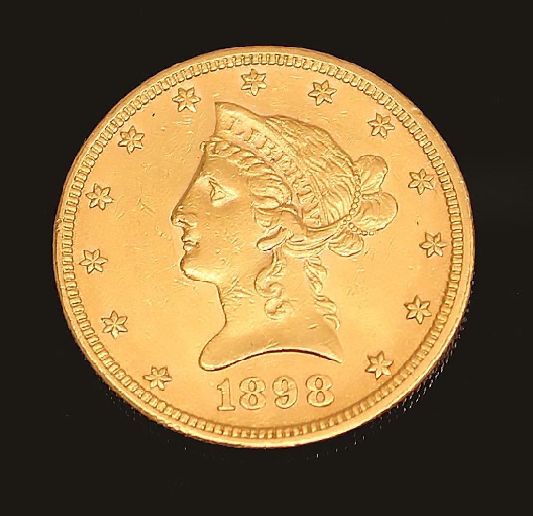 $10.00 U.S. LIBERTY GOLD 1898 EAGLE COIN