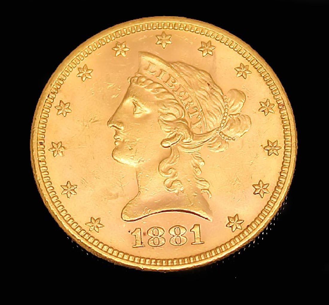 $10.00 U.S. LIBERTY GOLD 1881 S EAGLE COIN