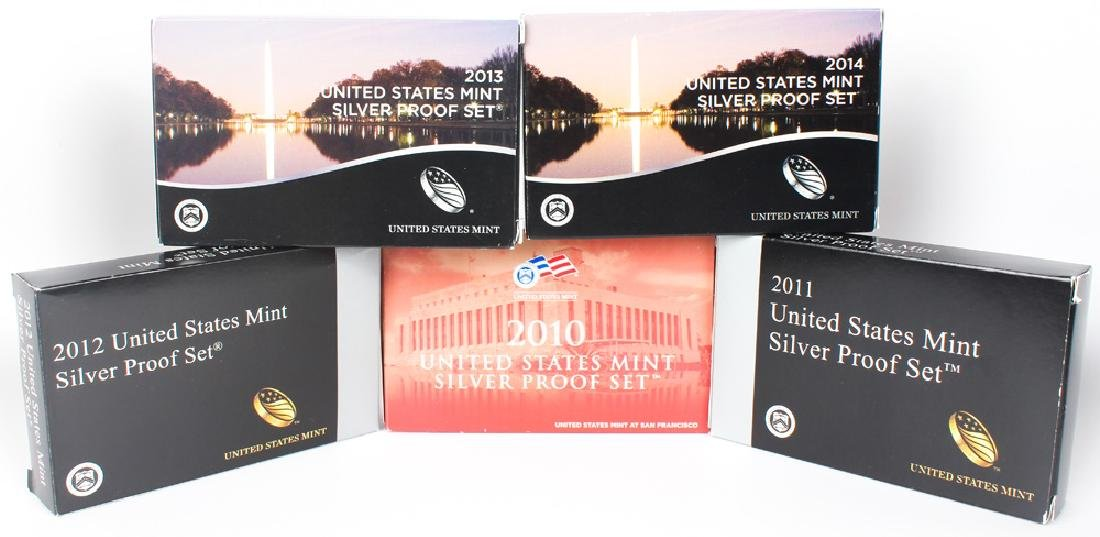 2010 - 2014 UNITED STATES MINT SILVER PROOF SETS
