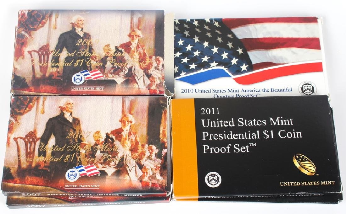SEVEN UNITED STATES PRESIDENTIAL PROOF DOLLAR SETS