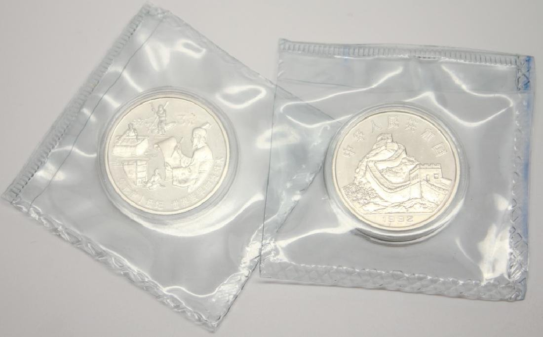 2 CHINESE SILVER PROOF 3 YUAN COINS 1992