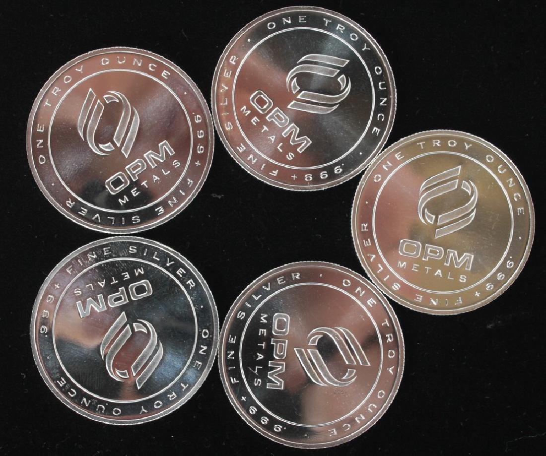 OPM .999 SILVER PROOF TROY OUNCE ROUNDS - LOT OF 5