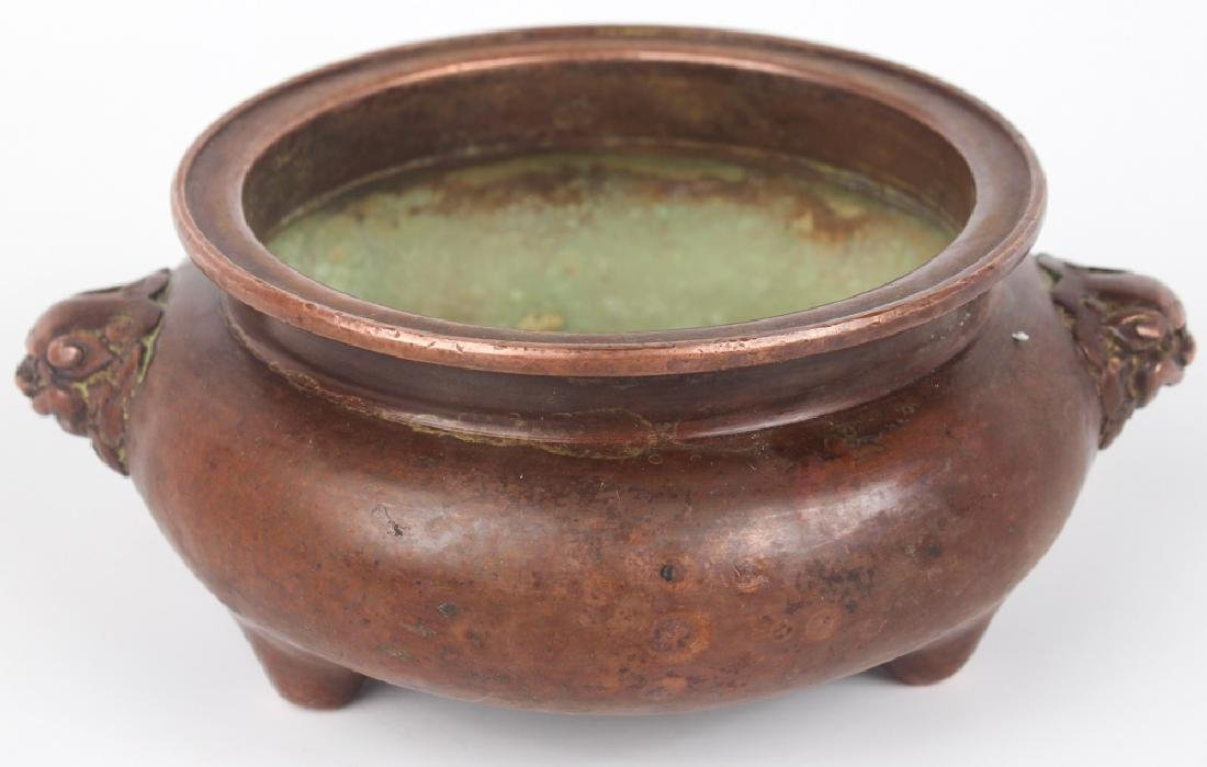 CHINESE COPPER CENSER - LION HANDLES