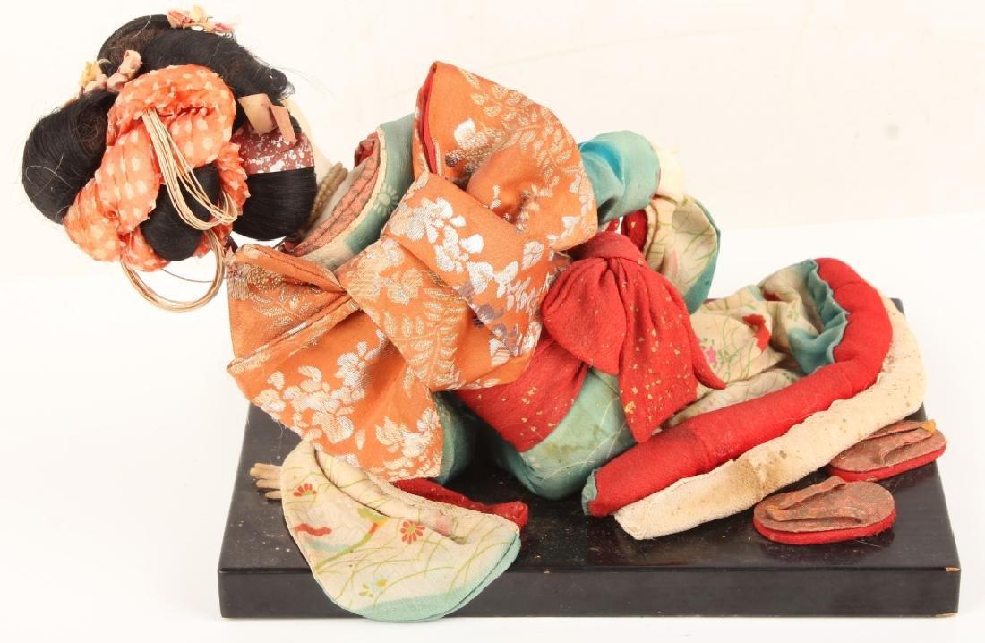 JAPANESE GEISHA DOLL RECLINED BLACK WOOD BASE - 4