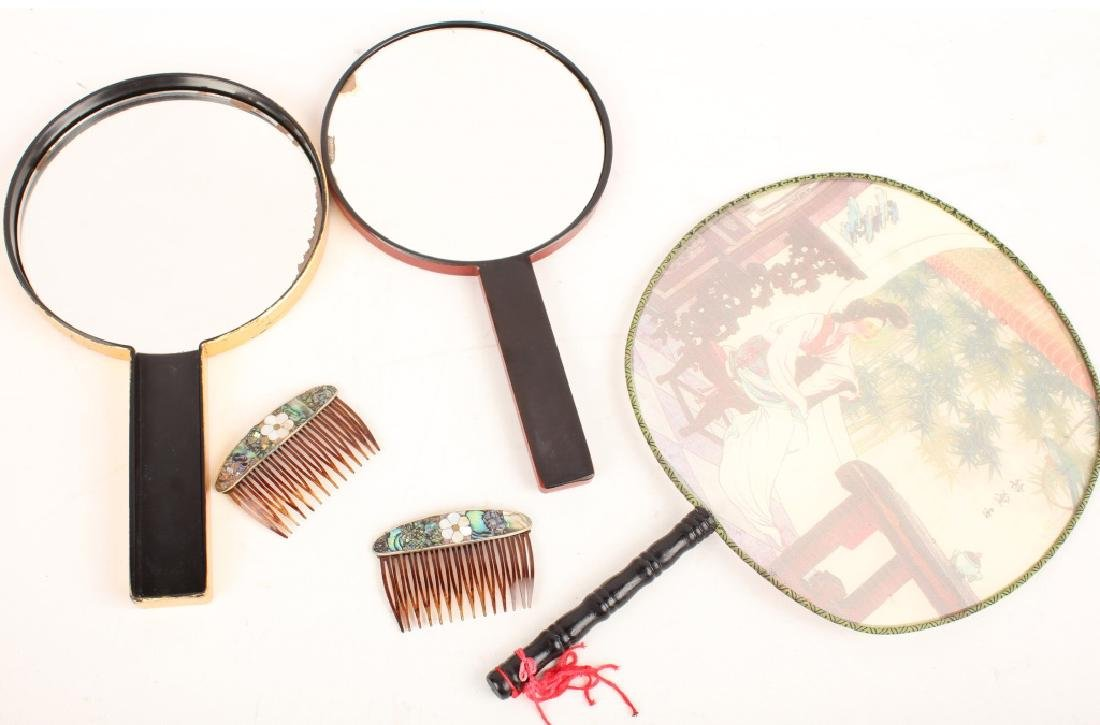 CHINESE MIRROR, HAIR COMBS & FAN