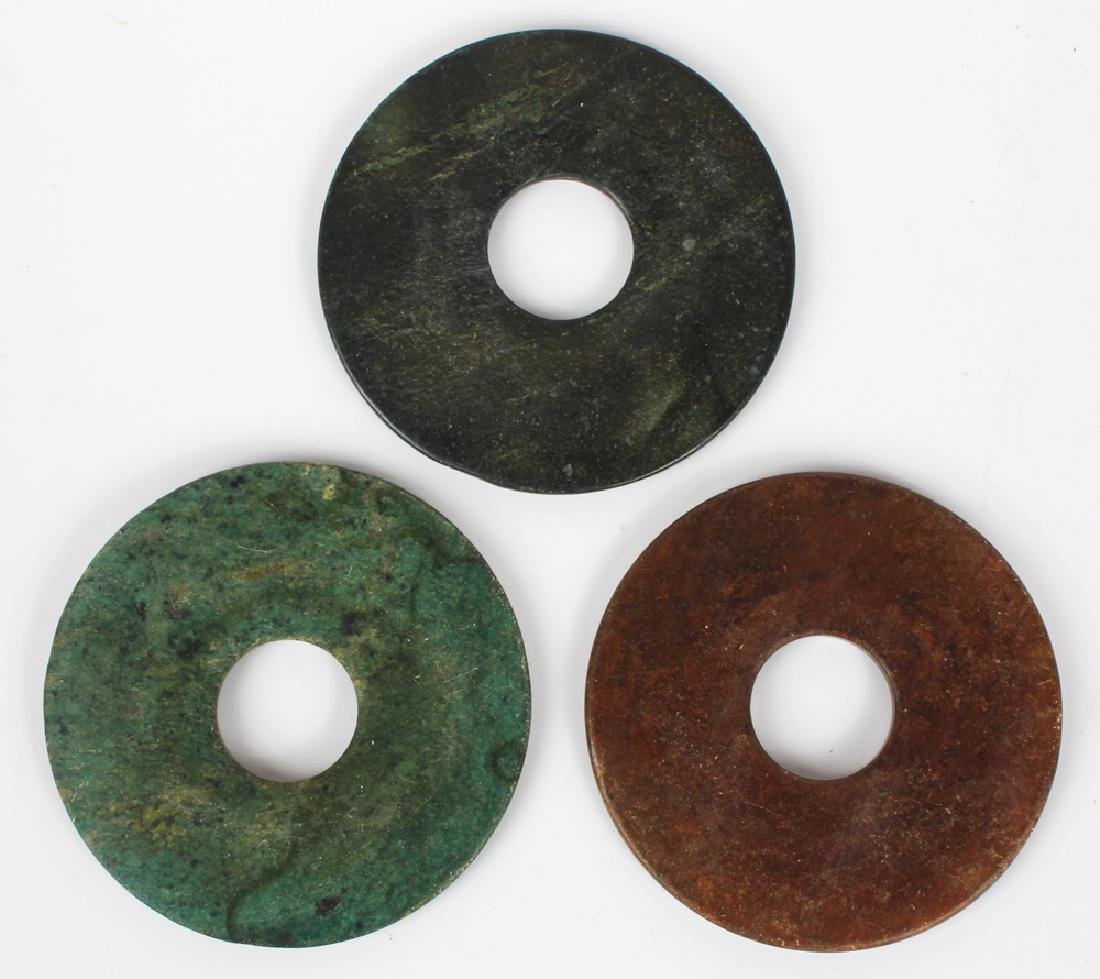CARVED SOFTSTONE BI DISKS - LOT OF 3