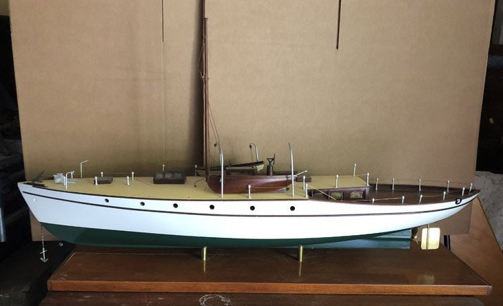 WOODEN MODEL SHIP - HAND CRAFTED ON WOOD BASE